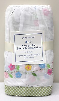 NEW Pottery Barn KIDS Daisy Garden Crib Skirt, Nursery Baby Bedding, GREEN