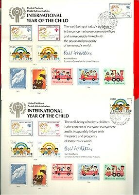 United Nations International Year Of The Child Souvenir Cards/1st Day Postmarks
