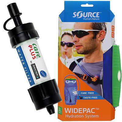 Sawyer Mini Wasserfilter mit Source Widepac 3,0L Trinkblase Survival Equipment