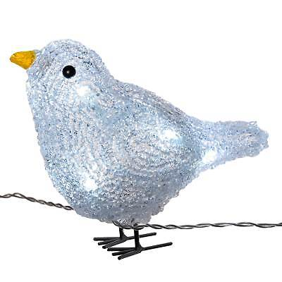 17cm White LED Blue Acrylic Bird Lights Christmas Decoration, Set of 5