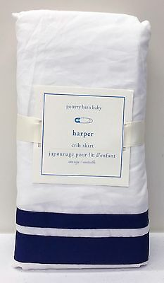 NEW Pottery Barn KIDS Harper Grosgrain Ribbon Crib Skirt Nursery Bedding, NAVY