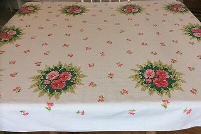 """Vintage BRIGHT Tropical Floral """"PINK HIBISCUS"""" Flowers White Cotton Tablecloth"""