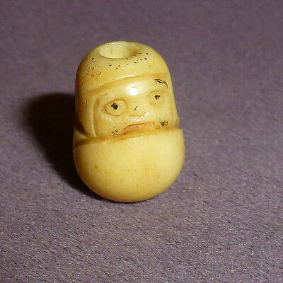 Superb 18th / 19th Century Ojime Carved Bovine Bone Frowning Daruma Bead Netsuke