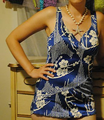 VTG Blue White Floral Swimsuit 1950 1960 Pin Up Sirena Swim Dress Beach Bamboo