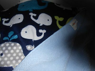 "CIRCO BLANKET BABY 38X28""  BLUE  whale  green new LOVEY SOFT ocean blue"