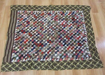Fabric Study! c 1890s PA Bow Tie Crib QUILT Top Antique TINY Pieces