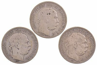 Lot of 3 Coins: 1893-1895 Hungary Silver 1 Krona *5430