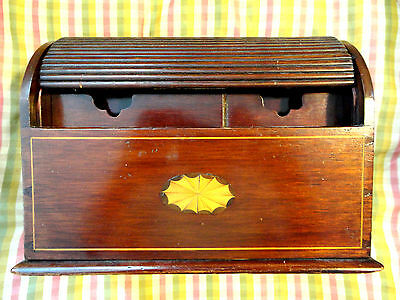 Antique Victorian Roll Top Desktop Letter Box - Inlaid Medallion, Carved Separat