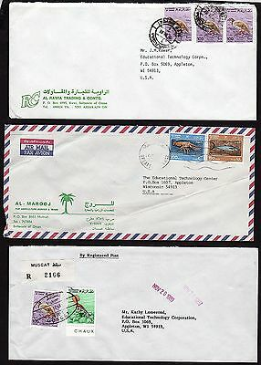 OMAN 1980's COLLECTION OF 9 COMMERCIAL AIR MAIL COVERS MUSCAT REGIST. RUWI,