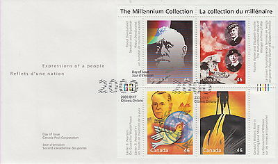 Canada #1825 46¢ Millennium Souvenir Sheet - Humanitarian And Peacekeepers Fdc