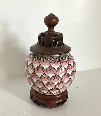 Qing Antique Chinese Cloisonne Ginger Jar ~Pink Lotus ~CHINA ~Carved Lid ~Stand