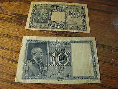 2 Italy Bank Notes Vale Dieci Lire / 10 Lire   Lot# H 72