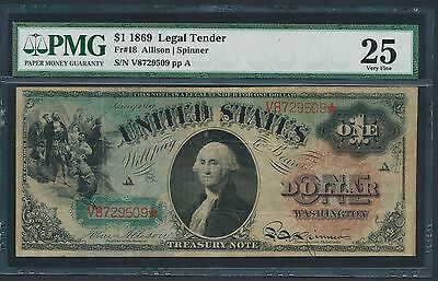 1869 $1 Legal Tender Rainbow Note PMG VERY FINE 25