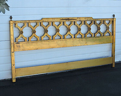 Hollywood Regency MCM Gold Leaf Distressed King Size Headboard 8446