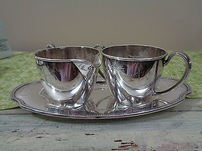 Oneida Community Silverplate Grosvenor Mini Cream Sugar & Underplate No Mono
