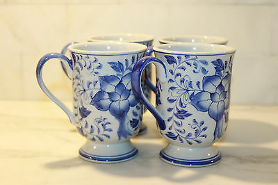 Andrea by Sadek Mugs Blue White Blue Floral Footed Irish Coffee Cappuccino (4)
