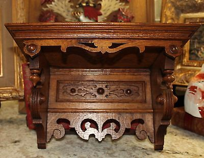 Antique English Oak PETITE Highly Carved Wall Shelf Arts & Crafts Era