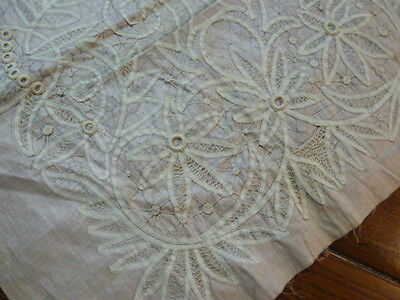 Vintage Stamped To Embroider Linen Battenburg Lace Tablecloth Table Runner
