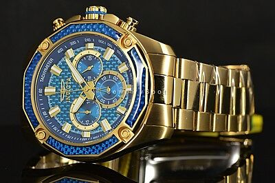 New Invicta Aviator Ocean Blue Glass Fiber Chronograph Dial 18k Gold Plated Watc