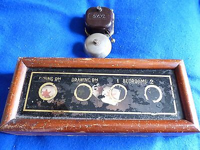 Antique Edwardian Butlers or Servants Bell Box ~ 4 Point Indicator