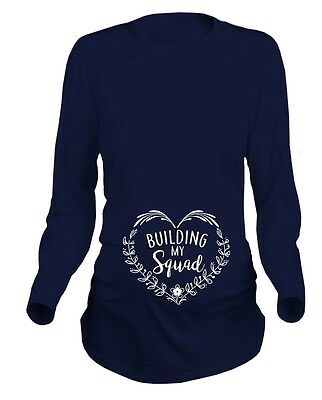 Building My Squad Floral Heart Womens Maternity Funny T-Shirt Long Sleeved Tee