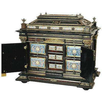 Highly Important Silver & Viennese Enamel Mounted Repousse Shell Casket Cabinet