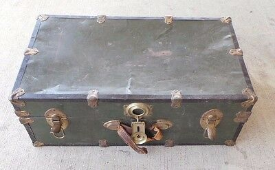 "GREEN Vintage Antique Chest/ Luggage Box  7.5"" X 16.5 "" X 30.5""  LOC. AAA-13"