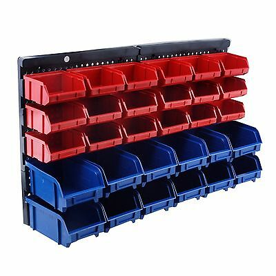 Steel Core 30 Bin Wall Mount Parts Storage Rack Organizer