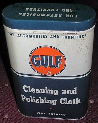 Old Vintage Gulf Cleaning And Polishing Cloth Wax Treated Tin