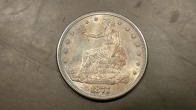 1877-S Silver Trade Dollar Colorful Toning Beautiful Dollar AU+ to UNC