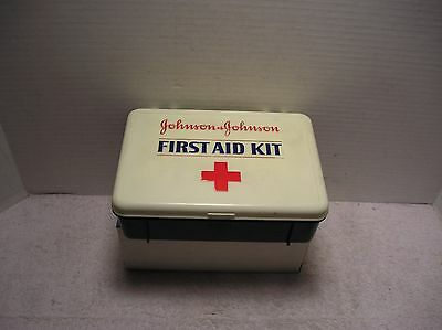 Johnson and Johnson First Aid Kit  Plastic Box  1980's