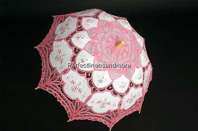 Beautiful Battenburg Lace Dark Pink lace and embroidery Parasol