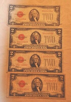 A Nice Group 1928- $2 Red Seal Legal Tender Qty ((4)) Red Seals Early Type