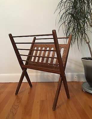 Vintage Mid Century Modern Danish Walnut Not Teak Magazine Rack