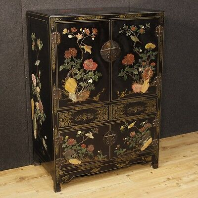 Cupboard lacquered chinoiserie furniture 4 panels antique style cabinet vintage