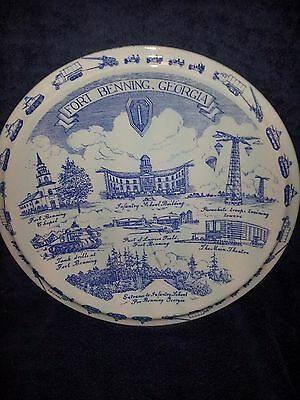 UNITED STATES ARMY BLUE Plate Fort Benning Georgia Vernon Kilns USA