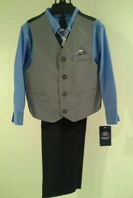 New Jonathan Strong Boys 4 Piece Suit Set Gray Black Blue Size 3 Nwt