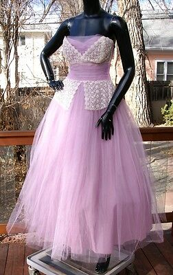 vtg 50's LAVENDER purple strapless party prom DRESS gown tulle netting w/ lace S