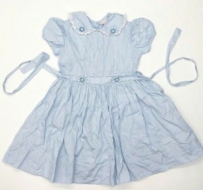 VTG 50s Girls Dress Frock By Celeste Sheer Floral Collar Blue Pintuck Lace 6 Yrs