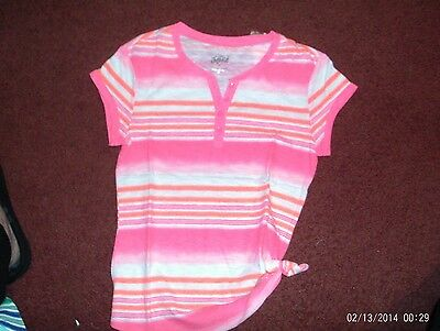 nwt-- justice--  girls size 16 pink/orange striped  short sleeve henley top