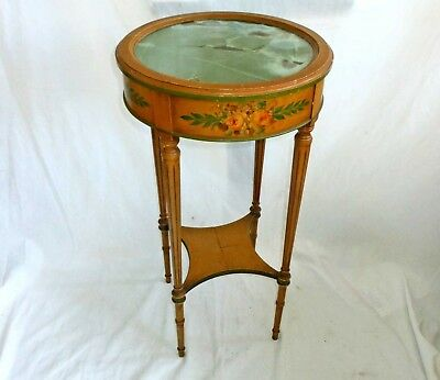 Antique Side Table Stand Tole Vintage Painted Flowers Imperial Grand Rapids