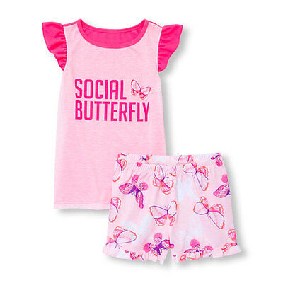 THE CHILDREN'S PLACE Little Girls Social Butterfly Pajama Shorts Set  XS (4) NEW