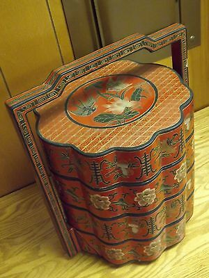 Lovely Vintage Antique Chinese Lacquer Stacking Wedding Box