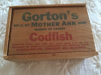 Vintage Gorton's Mother Ann Codfish Slide Top Wooden Box Gorton-Pew Fisheries