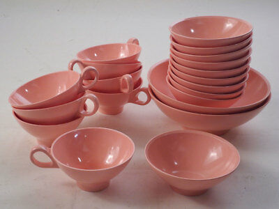 Boontonware Melmac Pink Cups & Bowls Lot of 20 Pieces