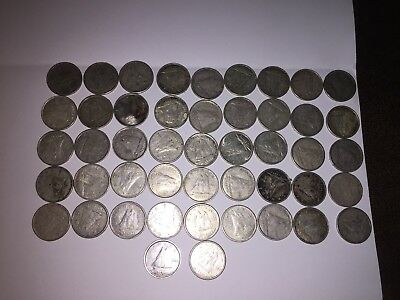 Canadian 80% Silver Dimes 47 circulated coins 1939-1966 various years 4 oz +/-