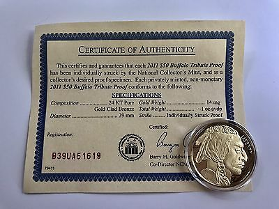 2011 24k Gold $50 Buffalo Proof Coin With Certificate of Authenticity