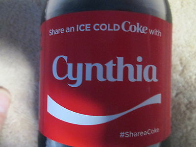 LIMITED EDITION 2017 Share a Coke with Cynthia-20oz Collectible Coca-Cola Bottle