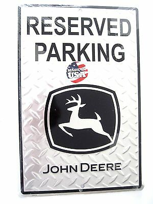 """NEW- Large 18"""" X 12"""" RESERVED PARKING JOHN DEERE EMBOSSED METAL SIGN MADE IN USA"""