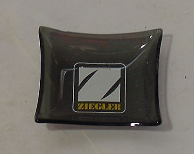 "Ziegler Caterpillar ""Z""  LOGO Bent Glass Ashtray or Pin Tray Houze Glass"
